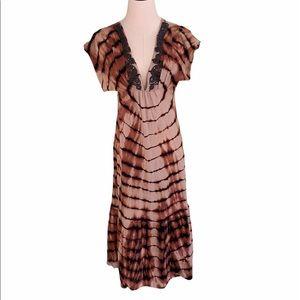 Language Los Angeles VNeck Casual Tye Dye Dress